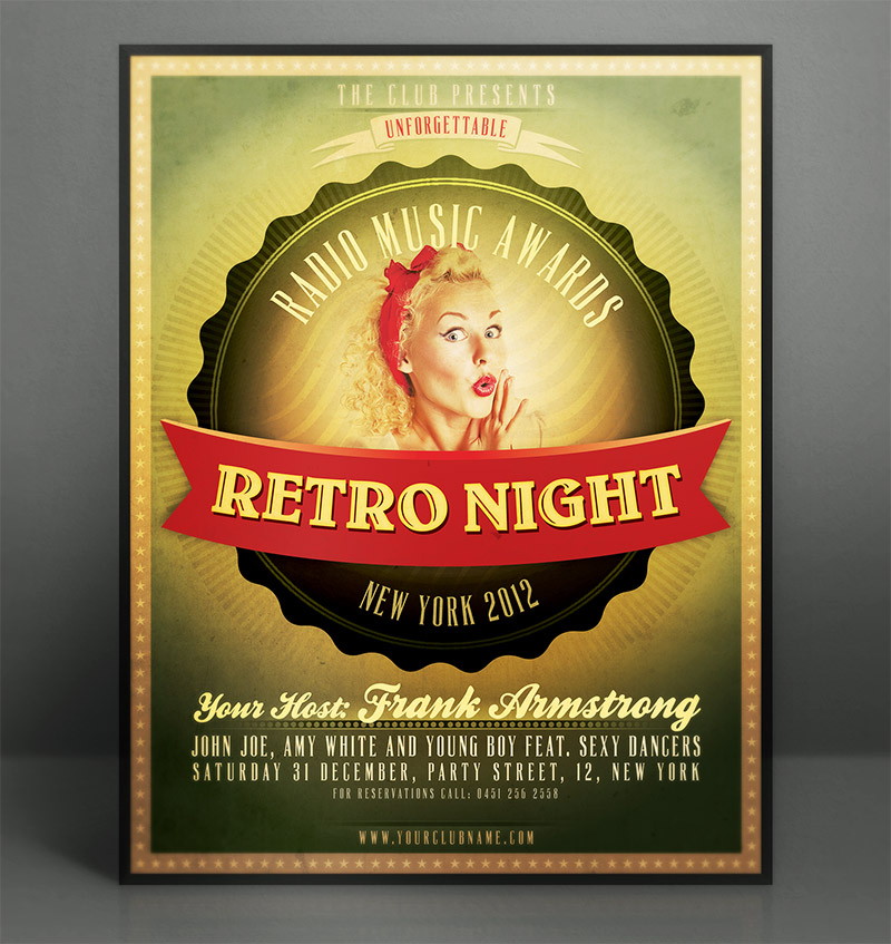 Retro Flyer Template. Retro New Year'S Eve Flyer Template